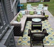 a paver patio installation, concrete masonry, landscape, outdoor furniture, outdoor living, patio