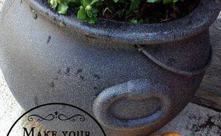 turn 0 97 plastic cauldron into a stone planter, crafts, repurposing upcycling