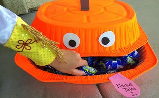 dollar store halloween candy bin, crafts, halloween decorations, repurposing upcycling, seasonal holiday decor