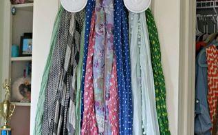 thrift store scarf organizer, organizing, repurposing upcycling