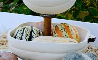 diy pumpkin tiered tray, crafts, how to, seasonal holiday decor, thanksgiving decorations