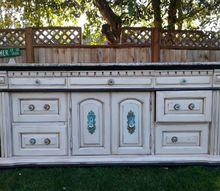 sk s damask buffet, chalk paint, decoupage, painted furniture