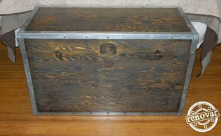 restored vintage wooden trunk, painted furniture, repurposing upcycling