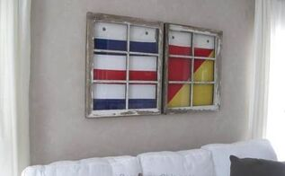 vintage windows and signal flags diy, crafts, home decor, living room ideas, repurposing upcycling, wall decor