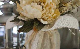 diy fall burlap floral centerpiece, crafts
