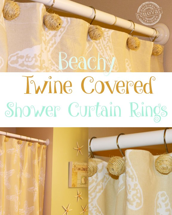 Curtains Ideas brown shower curtain rings : How to Make Beachy Twine Covered Shower Curtain Hooks | Hometalk