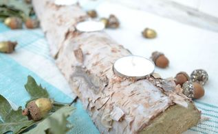 birch log centerpiece candle holder, crafts, seasonal holiday decor