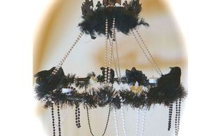 halloween raven chandelier, crafts, halloween decorations, lighting, repurposing upcycling, seasonal holiday decor