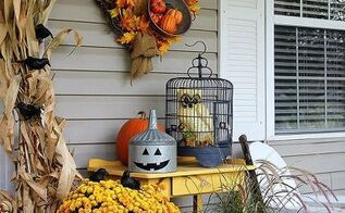 transitioning a porch from fall to halloween, halloween decorations, seasonal holiday decor