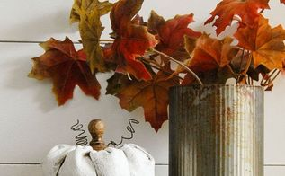 rustic painted fabric pumpkins, chalk paint, crafts, home decor, seasonal holiday decor