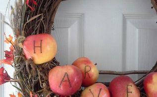 harvest apples on a shelf wreath, crafts, seasonal holiday decor, shelving ideas, wreaths