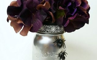 spooky halloween mason jar vase, crafts, halloween decorations, mason jars, repurposing upcycling, seasonal holiday decor