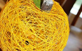 string pumpkins, crafts, home decor, thanksgiving decorations