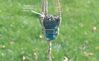 simple vintage glass insulator bird feeder for fall, crafts, gardening, how to, pets animals