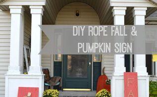 diy pumpkin and fall sign using rope, crafts, seasonal holiday decor
