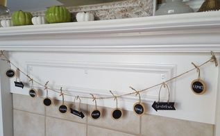 5 minute thanksgiving chalkboard garland, chalkboard paint, crafts, thanksgiving decorations