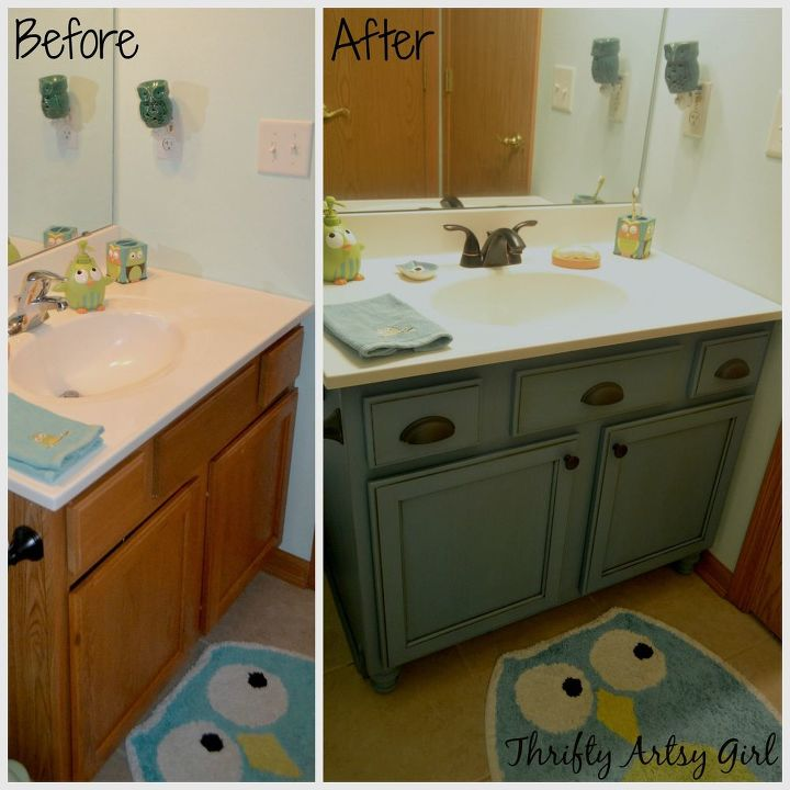 10 Trendy Kitchen And Bathroom Upgrades: Builders Grade Teal Bathroom Vanity Upgrade For Only $60