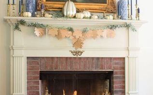 wooden leaf fall garland, crafts, fireplaces mantels, home decor, how to, seasonal holiday decor