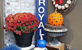 baseball themed front porch decor for fall, curb appeal, porches, seasonal holiday decor