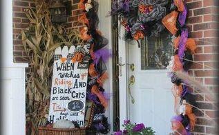 halloween front porch, halloween decorations, seasonal holiday decor