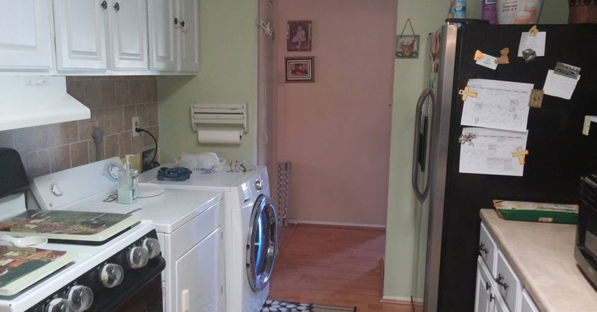 Anyone have ideas for hiding a washer and dryer in a small for Washer and dryer in kitchen ideas