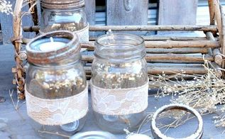 fall tea light mason jar vignette, crafts, mason jars, outdoor living, seasonal holiday decor