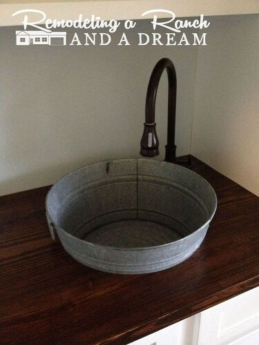 Making a galvanized tub into a sink hometalk for Metal bucket sink
