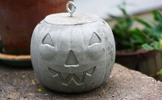 diy concrete jack o lanterns, concrete masonry, crafts, halloween decorations, seasonal holiday decor
