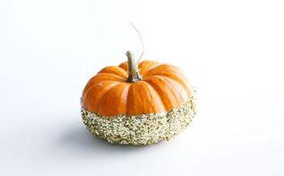 diy glittered pumpkin place card holders, crafts, seasonal holiday decor