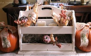 fall centerpiece from a thrift store magazine rack, crafts, seasonal holiday decor