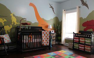 diy dinosaur themed nursery, bedroom ideas, home decor, painting, wall decor
