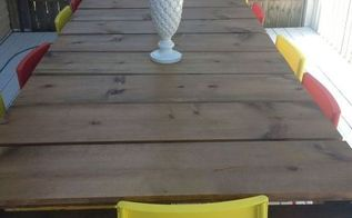 diy outdoor dining table from wood pallets, diy, outdoor furniture, painted furniture, pallet, woodworking projects