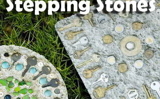 steampunk stepping stones, concrete masonry, crafts
