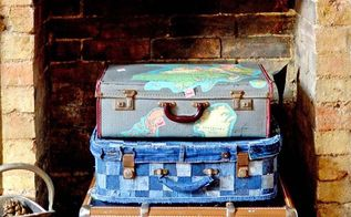 upcycle an old suitcase with jeans to create some fun storage no sew, crafts, decoupage, repurposing upcycling