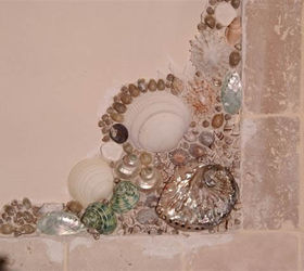 Wonderful Shells And Pebbles Brighten Up A Bathroom, Bathroom Ideas, Wall Decor
