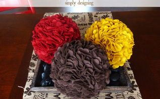 autumn felt pom poms, seasonal holiday decor