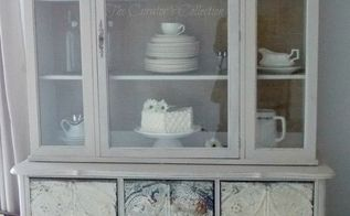 french china cabinet makeover with milk paint antique ceiling tiles, painted furniture