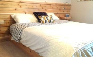 cedar planked headboard wall, bedroom ideas, diy, wall decor, woodworking projects