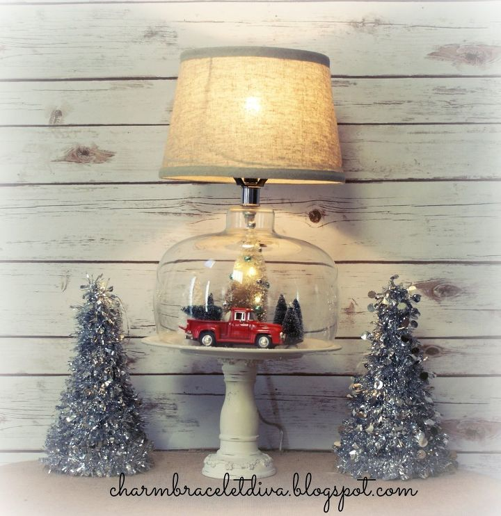 Thrift Store Lamp Easily Transformed Into Christmas Decor