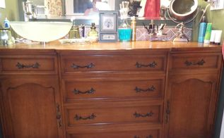 repurpose a french provicial dining room buffet, bathroom ideas, diy, painted furniture, repurposing upcycling
