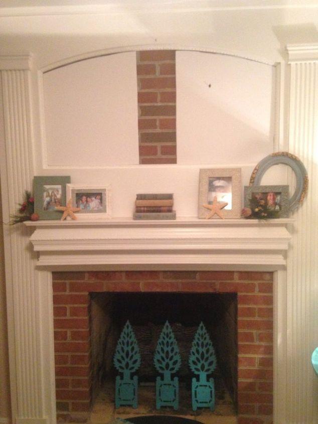 Fireplace Mantel brick fireplace mantel : Too Afraid to Paint My Brick Fireplace!! Quick Change to Make It ...