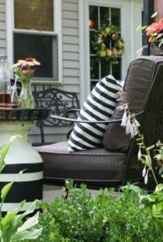 milk can side table, outdoor furniture, painted furniture, repurposing upcycling