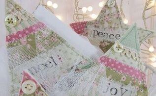 faux patchwork christmas ornaments, christmas decorations, seasonal holiday decor