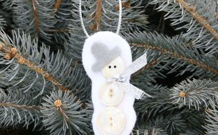 button and felt snowman ornament, christmas decorations, seasonal holiday decor