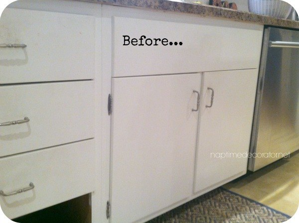 Adding trim to 1960s cabinets hometalk for Adding knobs to kitchen cabinets