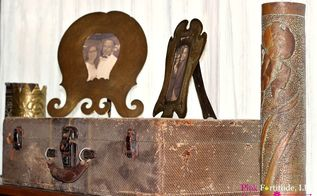 vintage trunk and french trench art vignette, crafts, painted furniture