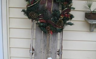 vintage sled christmas decoration, christmas decorations, seasonal holiday decor