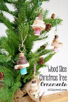 stacked wood slice christmas tree ornament, christmas decorations, seasonal holiday decor