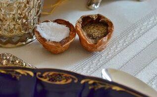 thanksgiving walnut shell salt cellars, seasonal holiday decor, thanksgiving decorations