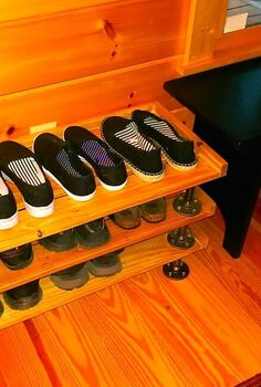 no more shoes littering the entry, diy, pallet, woodworking projects, Pallet wood and iron flanges and pipe shoe ra